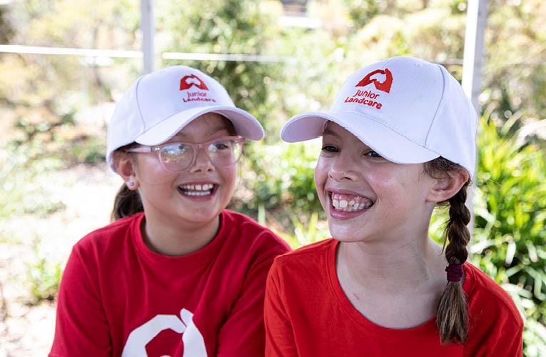 Junior Landcare girls smiling