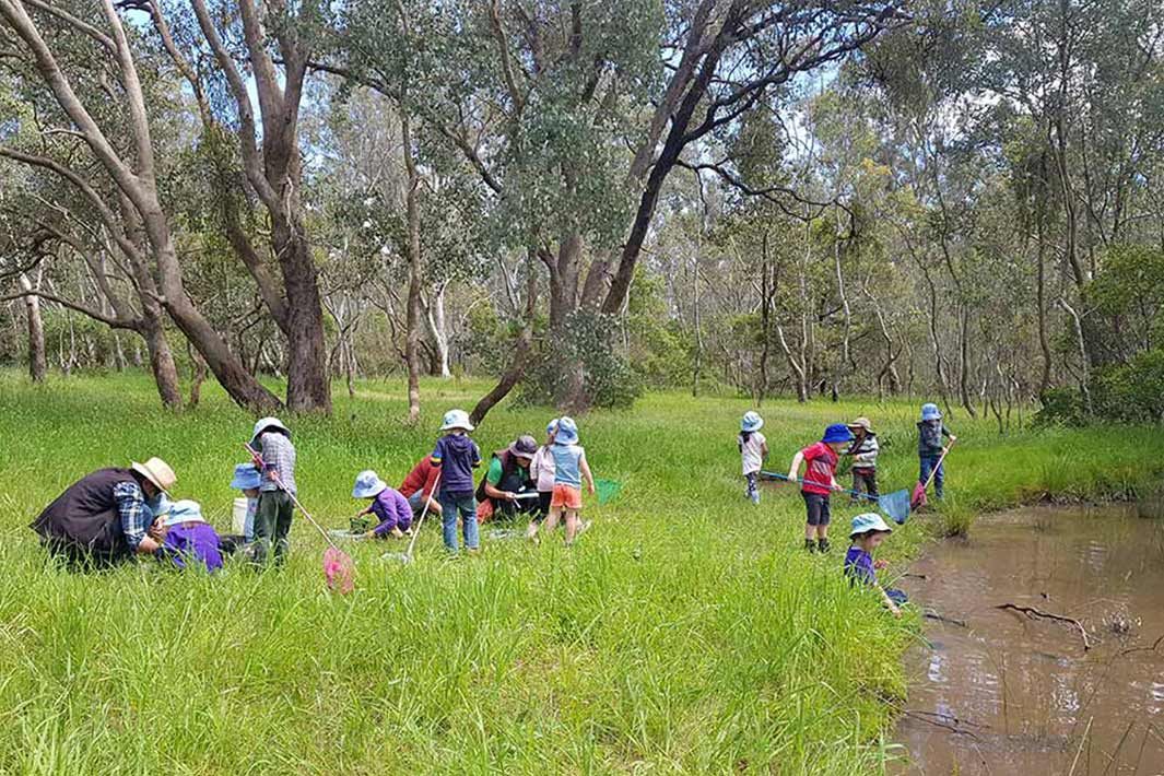 Kinder kids learning out in the field