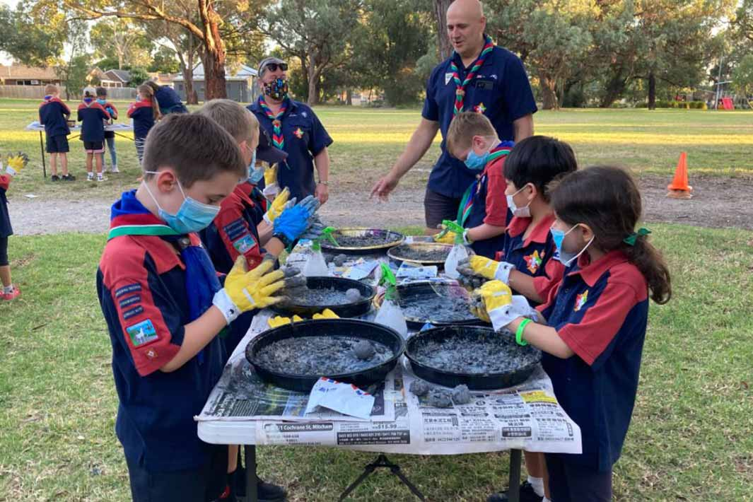 Joeys from Nunawading Scout Group get involved in making seed bombs